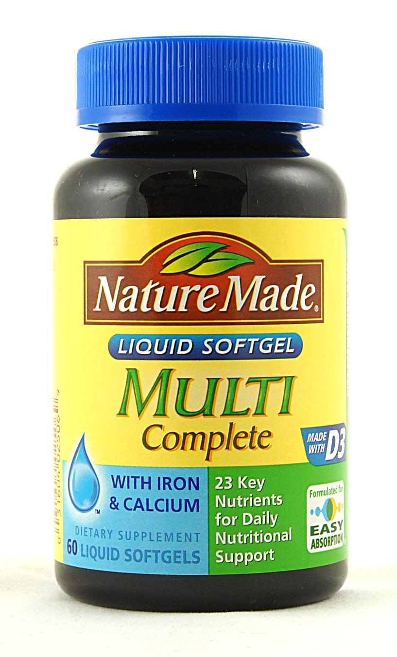 nature multi complete liquid iron calcium d3 softgels count multivitamin brainreference